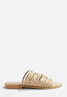 Missguided Nude Super Strappy Flat Sandals