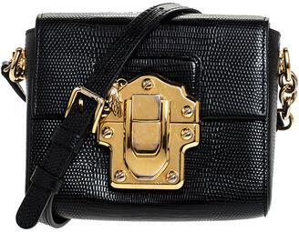 Dolce & Gabbana Black Lizard Mini Lucia Crossbody Bag
