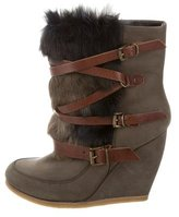 Maje Fur-Trimmed Wedge Boots