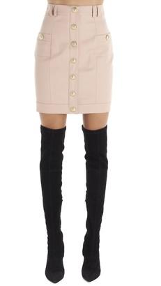 Balmain Button-Up A-Line Skirt