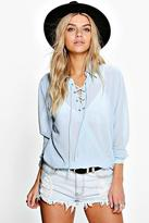 Boohoo Rosie Lace Up Wrap Over Chiffon Blouse