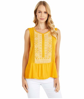 Lucky Brand Women's Sleeveless Scoop Neck Embroidered Peplum Top