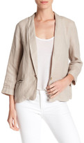 Three Dots Solid 3/4 Sleeve Linen Blazer