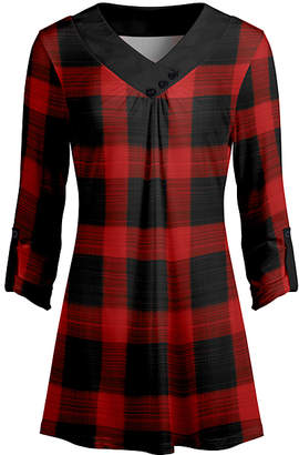 Lily Women's Tunics RED - Red & Black Plaid Button-Detail V-Neck Tunic - Women & Plus
