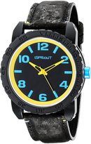Sprout Men's ST/7011BKBK and Yellow Watch with Natural Cork Strap