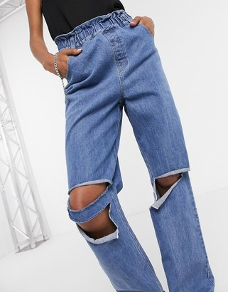 Emory Park relaxed jeans with ripped knees and paper bag waist