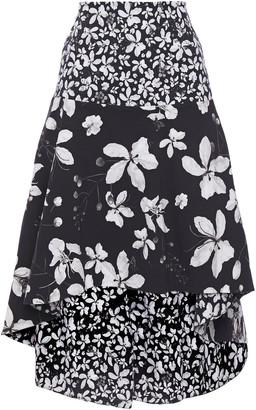 Isolda Asymmetric Floral-print Cotton-blend Skirt