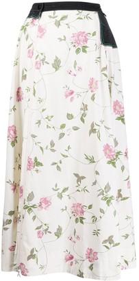 Marine Serre Floral-Print Flared Skirt