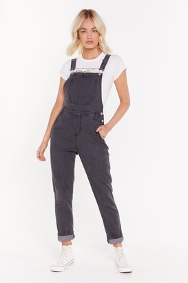 Nasty Gal Womens Grey Denim Boyfriend Dungarees - 10