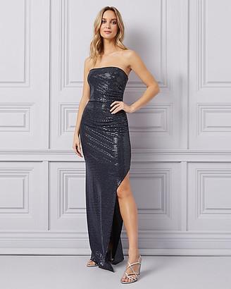 Le Château Metallic Knit High Slit Gown