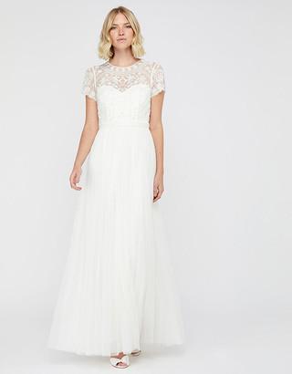 Under Armour Olive Bridal Embellished Tulle Maxi Dress Ivory