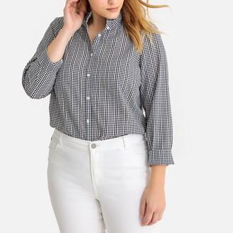 Castaluna Plus Size Gingham Mandarin Collar Cotton Shirt