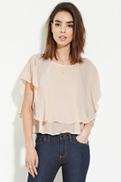 Forever 21 FOREVER 21+ Contemporary Ruffle Chiffon Top