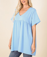 Lydiane Women's Tunics SPRING - Spring Blue V-Neck Short-Sleeve Babydoll Tunic - Women & Plus