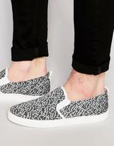 Asos Slip On Sneakers in Gray Print