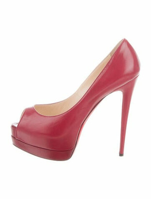 Christian Louboutin Lady Peep 150 Leather Pumps Red