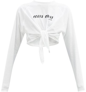 Miu Miu Logo-print Tie-front Cropped Cotton-jersey Top - White