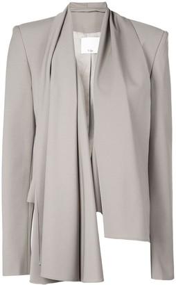 Tibi Cropped Scarf-Style Blazer