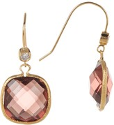 Rivka Friedman 18K Gold Clad Faceted Raspberry Tourmaline Crystal & CZ Accented Dangle Earrings
