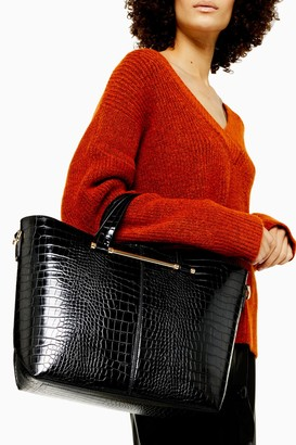 Topshop Womens Taz Black Crocodile Tote Bag - Black