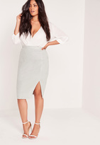 Missguided Plus Size Thigh Split Faux Suede Midi Skirt Grey