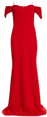 Badgley Mischka Floral Applique-Sleeve Stretch-Crepe Off-the-Shoulder Column Gown