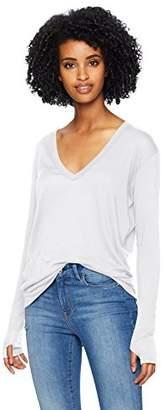 Enza Costa Women's Tissue Jersey Loose Long Sleeve V-Neck