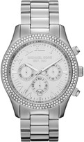 Michael Kors  Mid-Size Silver Color Stainless Steel Layton Chronograph Glitz Watch