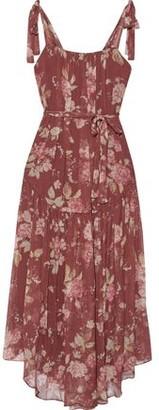 Zimmermann Unbridled Gathered Floral-print Silk-georgette Midi Dress