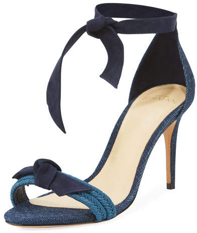 Alexandre Birman Clarita 75mm Knotted Denim Two-Band Sandal