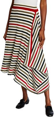 J.W.Anderson Infinity Asymmetric Rib-Knit Striped Skirt