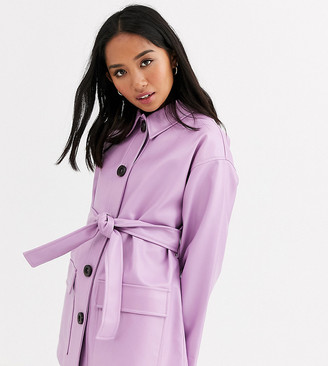 Asos DESIGN Petite button through leather look belted jacket in lilac