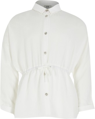River Island Girls White cinched waist shirt