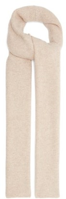 Ganni Rib-knitted Recycled Wool-blend Scarf - Beige