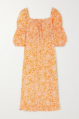 Faithfull The Brand Nora Shirred Floral-print Crepe Midi Dress - Orange