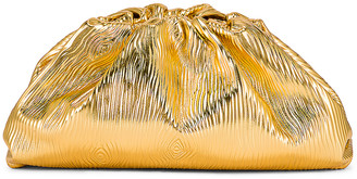 Bottega Veneta Leather Bark Metal Pouch in Gold | FWRD