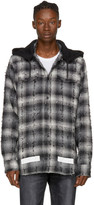 Off-White Black & White Diagonal Check Hooded Shirt