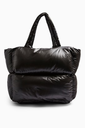Topshop CONSIDERED CASA Black Puffer Tote Bag