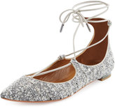 Aquazzura Christy Tweed Lace-Up Pointed-Toe Flat, Light Gray
