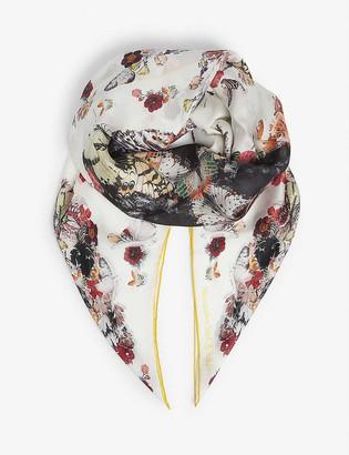 Alexander McQueen Botanical skull-print square silk scarf