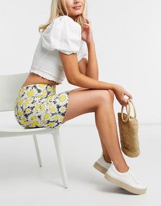 And other stories & sunflower print linen mini skirt in multi