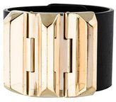 Gucci Accented Wide Leather Bracelet