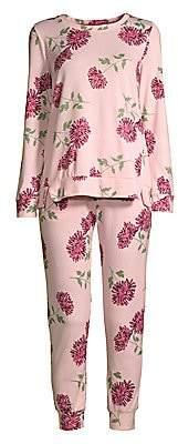 Kate Spade Women's Two-Piece Blooming Floral Brushed Pajama Set