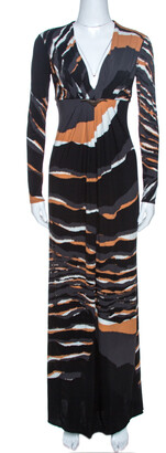 Roberto Cavalli Multicolor Stretch Jersey Draped V Neck Maxi Dress S