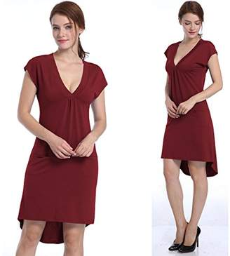 ZKHOECR Slim Fit Dresses for Women Plain Tunic Tops Midi Dress V Neck Elegant Beautiful Clothes Casual Cute Pleated Tees for Work Form Fitting Blouses with Pockets Red Wine M