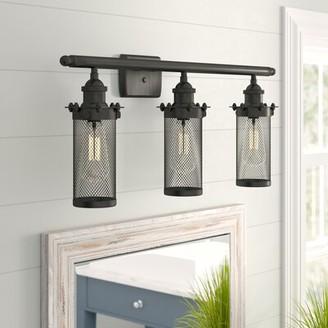 Beachcrest Home Narvaez 3-Light Vanity Light Finish: Matte Black, Shade Color: Matte Black, Bulb Type: LED