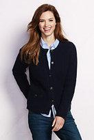 Lands' End Women's Lambswool Shaker Jacket Sweater-Ivory/Black Fairisle
