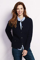 Lands' End Women's Petite Lambswool Shaker Jacket Sweater-Navy