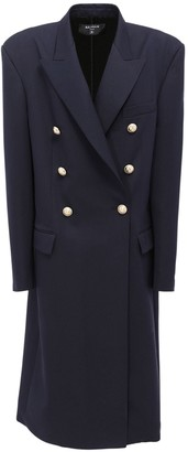Balmain Over Wool Double Breast Long Coat