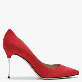 Sergio Rossi Godiva 90mm Red Suede Steel Heel Court Shoes